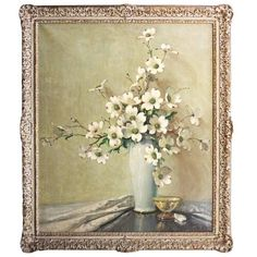 Floral Still Life, Dogwood Blossoms by A. D. Greer (12.710 RON) ❤ liked on Polyvore featuring home, home decor, wall art, art, filler, blossom painting, flower wall art, canvas wall art, flower home decor and canvas oil paintings