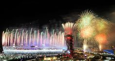 It's over: Fireworks light up the Olympic Village in Stratford, east London as London 2012 draws to an emotional close