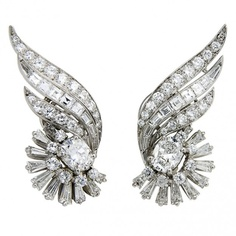 Platinum & Diamond Earclips by Oscar Heyman