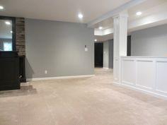 room divider basement  I like this color scheme, sans the carpet. Go darker or go home, carpet! :P