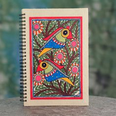 Madhubani journal, 'Friendship' - Artisan Crafted Indian Folk Art Journal with Bird Motif Traditional Paintings, Traditional Art, Tattoo Traditional, Simple Bird Drawing, Madhubani Art, Indian Folk Art, Madhubani Painting, Indian Paintings, Bird Paintings