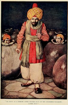 The Arabian nights (1913) Illustrations by Monro S. Orr, _As soon as I throw some stones out of my chamber window come out.