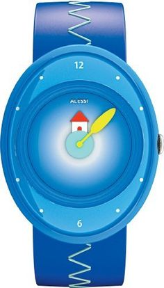 Alessi Kids' AL20000 Millennium Jr. Blue Strap with House Watch alessi. $89.99. Urethane coated blue leather strap. Plastic case. Arabic numeral at the 12 and six o'clock positions. Water resistant to 99 feet (30 M). Blue dial with house graphic and yellow hands