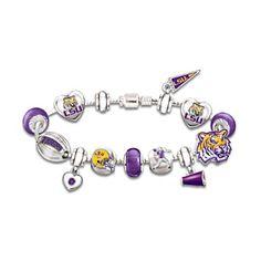 LSU Tigers Charm Bracelet with Swarovski Crystals I know the perfect arm for this Louisiana State University, Lsu Tigers, Purple Gold, Swarovski Crystals, Bling, Charmed, Fan, Gold Jewelry, Jewelry Bracelets