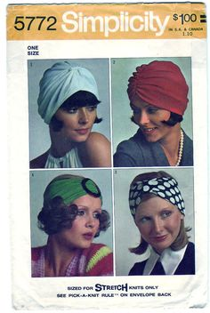 Vintage 1973 Simplicity 5772 Craft Sewing Pattern Set of Turbans One Size