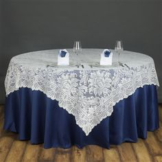 """$18 90"""" lace overlay. I love this! Compare price and look to renting from the venue. Keep in mind I could sell these on probably for $10 after the wedding. And take them to MN?"""