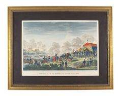 """""""BOMBARDMENT DE MADRID, LE 4 DECEMBRE 1808"""". Early 19th century hand colored print showing a view of Napoleon and his staff being petitioned by Spanish leaders and clergy, while in the background his forces are laying siege to Madrid. Professionally matted in an antiqued gold frame."""