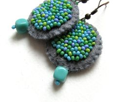 Turquoise felt earrings with beads by VesztlFanni on Etsy, $17.50