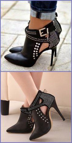f75f57c3dea Women Pumps Pointed Toe High Heels Fashion Women Shoes Rivets Pumps ...