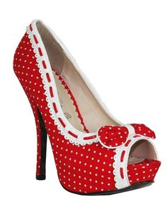 "ELLIE SHOES - 5"" RED/WHITE BETTIE PAGE HEEL OPEN TOE PUMP"