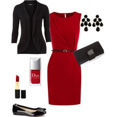 """Red dinner dress"" by countrychic17 on Polyvore"