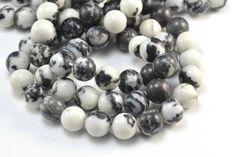 jasper, black zebra jasper,  4-16mm,  round,  black,  gemstone bead, agate bead, jewelry making, jewelry bead, craft supply, gem bead,diy #metalbeads #gifts