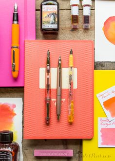 Fountain pens, ink, paper, oh my! Love the bright colors in this Peachy Keen arrangement.