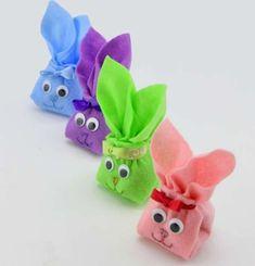 Coniglietti di Pasqua fai da te - Sacchettini colorati