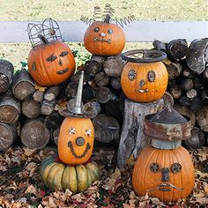 Meet the Junk Pumpkins    This gang of junk pumpkins is an ensemble of all kinds of looks. Each one of them is crafted from different materials.