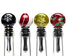 Oenophilia Holiday Glass Stoppers Assorted Colors