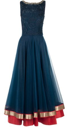 Navy blue bugle bead embroidered anarkali: eaturing a navy blue sleeveless tulle anarkali with navy blue lace front highlighted by silver bugle bead embroidery around neck. It is paired with red net dupatta with hand embroidered border and red piping - JADE BY MONICA AND KARISHMA