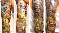 Amazing STUDIO GHIBLI Sleeve Tattoo is Miyazaki Madness