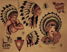 Sailor Jerry Flash  I do LOVE the Native American tattoos. Love he colors, and detail of the feather headdresses.