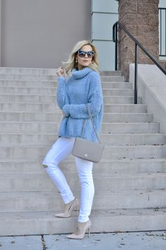 light blue knit sweater, white jeans, nude pumps, and Tory Burch bag |The Coziest Blue Sweater|