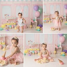 Ice cream shop cake smash - Michelle Lee Photography - Beyond Binary Smash Cake Girl, 1st Birthday Cake Smash, Baby Girl 1st Birthday, Baby Ice Cream, Ice Cream Theme, Birthday Girl Pictures, First Birthday Photos, Birthday Ideas, Michelle Lee