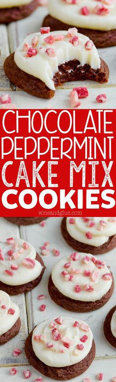 these chocolate peppermint cake mix cookies are ridiculously simple to make but so moist and christmas dessertsholiday - Simple Christmas Desserts