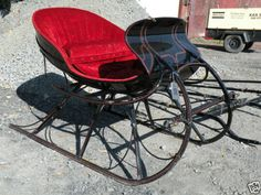 ANTIQUE RESTORED ALBANY CUTTER HORSE DRAWN SLEIGH WITH SHAFTS HOLIDAY DISPLAY