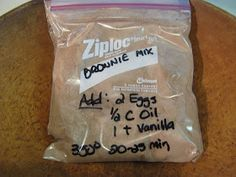 Fake-It Frugal: Fake Betty Crocker Brownie Mix -- add 3/4 cup chocolate chips per bag. Mm-mm good!