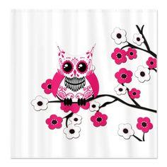 Pink & White Sugar Skull Owl Shower Curtain
