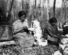 Ojibwe women making birch bark containers