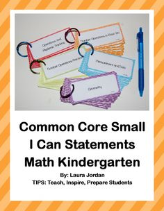 Common Core I Can Statements Small Math Kindergarten product from TIPS on TeachersNotebook.com