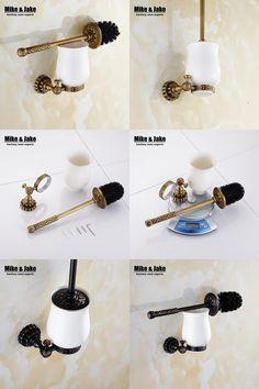 [Visit to Buy] Bathroom copper antique bathroom toilet brush holder suits Archaize toilet holder Bathroom hardware accessories Toilet brush #Advertisement