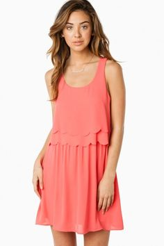 Layered Scallops Dress in Coral