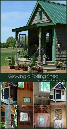 Growing a Potting Shed from the ground up with exterior inspiration from Country Gardens magazine. A blend of new and salvage materials, galvanized sheet metal counters and windows dressed with landscaping burlap! #gardening #pottingshed