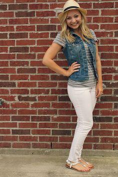 goodwillista | white skinnies, denim vest, striped shirt, fedora