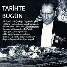 TARİHTE BUGÜN 28 Ekim 1923 Çankaya Köşkü'nde vekillerle yenilen akşam yemeği esnasında, Gazi Mustafa Kemal Paşa 'Efendiler yarın Cumhuriyeti ilan edeceğiz!' dedi. Ertesi gün Cumhuriyetin ilan edileceğinin heyecanını anlatan, ideallerle ve umutla dolu bu cümlenin değerini bugün anlayabiliyor muyuz? #cumhuriyet #bayram #28ekim1923 #29ekim1923 #tarihebugün #dermokozmetika