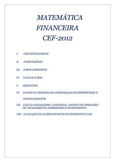 Apostila matemática financeira  básica - concurso cef 2012 Capital 1, E Simple, Business Management, Study, Mathematical Finance, Accounting, Helpful Hints, Investing, Studio