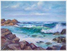 Artwork >> Rita Palm >> Choppy Waters (oil painting) - Inches x 11 Inches) Choppy Water, Water Colors, Sunny Days, Artworks, Palm, Ocean, Paintings, Beach, Outdoor