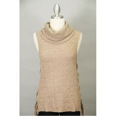 Cowl Neck Sleeveless Sweater w/ Lace Up Sides Thumbnail
