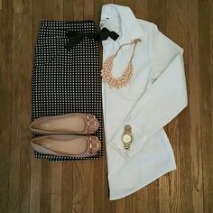 PRICE DROPThe Limited Polka Dot Pencil Skirt Cute brown and white polka dot pencil skirt with bow in front. Perfect for work or date night! The Limited Skirts Pencil
