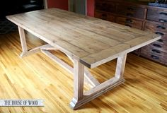 diy zgallerie dining table with restoration hardware inspired finish, carpentry woodworking, diy renovations projects, furniture furniture revivals, My DIY ZGallerie inspired dining table Diy Dining Room Table, Dining Furniture, Rustic Furniture, Painted Furniture, Diy Furniture, Homemade Furniture, Furniture Design, Kitchen Tables, Plywood Furniture