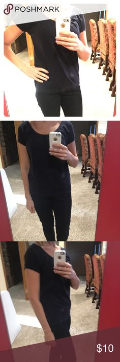 Ann Taylor Loft Navy Blue Tee Perfect Condition LOFT Scoop-Neck Tee — Navy Blue — Cap Sleeves — Great with colored jeans or skirts! — Classic Style LOFT Tops Tees - Short Sleeve