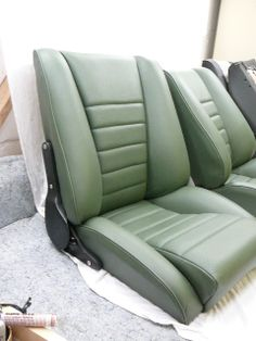 our 'Sport S' seats in green leather.Remake of the Recaro Ideal.Classic Car Seats by GTS classics.