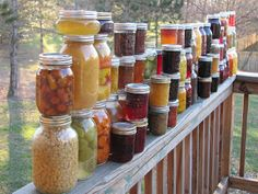 50 canning recipes for produce as they come into season. Some ideas I hadn't thought of yet! Note: NEVER stack jars like this!!!