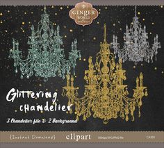 Glittering Chandelier clip art gold chandelier by GingerWorld