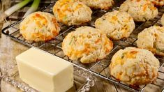 """No kneading, no rolling required to make these tasty, tender biscuits. They're the perfect sidekick to soups, chili, and stews, but equally good with a drizzle of honey for a sweet-savory bite.""1 … Drop Biscuits, Buttermilk Biscuits, Cheddar Biscuits, Homemade Biscuits, Homemade Breads, Bread Recipes, Baking Recipes, Hamburger Recipes, Pastry Recipes"