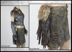 Apocalyptic SKIRT Army Drab Green with attached LEATHER Fringe Pouch Genuine COYOTE FuR Size 10 MEDiUM Fallout Skirt by WastelandWearable by WastelandWearable on Etsy