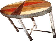 console Toucouleur en bois précieux d'Afrique et fer forgé
