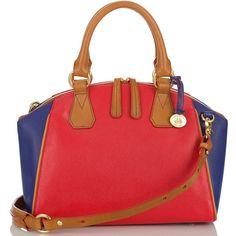 Brahmin Tyler Satchel Bag ($335) ❤ liked on Polyvore featuring bags, handbags, purses, blue parade, red purse, blue handbags, red handbags, hand bags and summer handbags