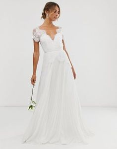 ASOS EDITION plunge lace wedding dress with pleated skirt